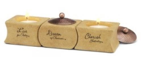 Cherish, Dream, Live Three Piece Candle Holder